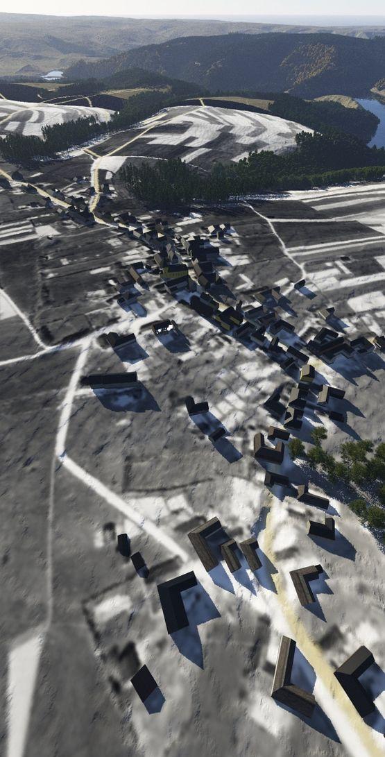 Terragen: das rekonstruierte Wollseifen, unterlegt mit dem historischen Luftbild (2011)