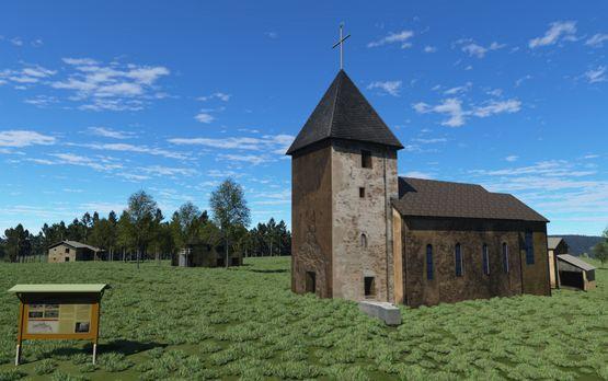 Terragen: heutiger Stand der Kirche, mit ausgestelltem Wollseifen-Modell davor (2013)