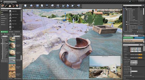 Unreal Engine mit der photogrammetrisch erfassten Ausgrabungsstätte sowie einem antiken Krug