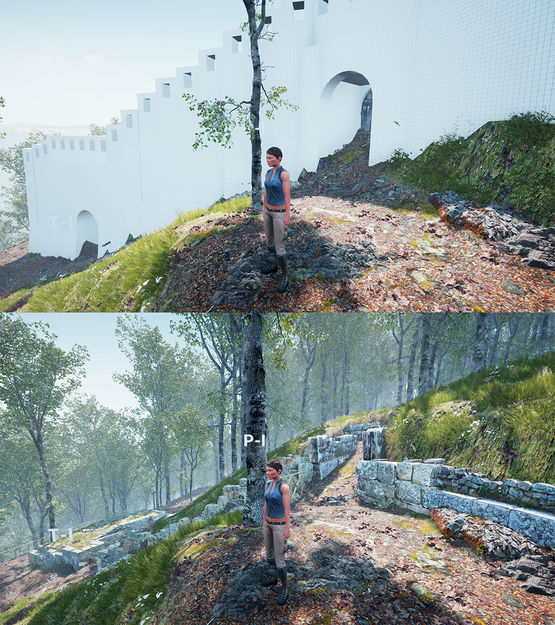 Unreal Engine: in einfachen Farben gehaltene Darstellung einer möglichen historische Version (oben) sowie der aktuelle Stand der italienischen Siedlung (unten)