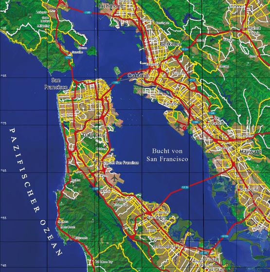 Ausschnitt: Entwicklung einer Satellitenbildkarte für den Großraum San Francisco