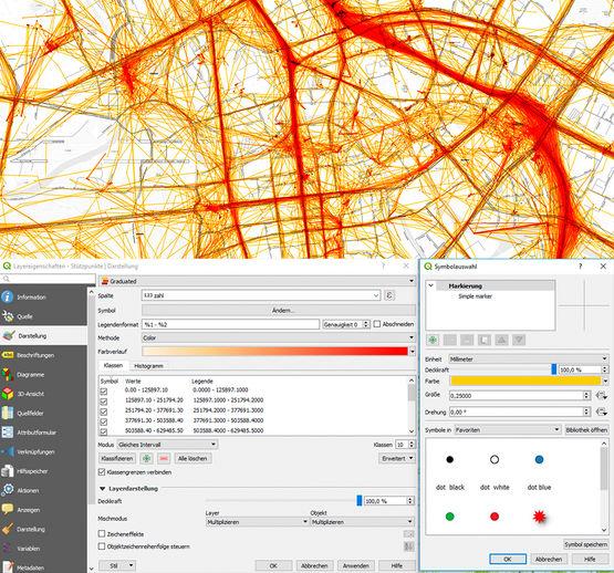 Visualisierung von Bewegungsprofilen (oben) und die entsprechenden Funktionen in dem Geoinformationssystem (QGIS)