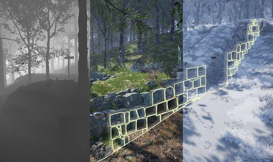 Unreal Engine, Darstellung der Tiefe (links) sowie die Kombination der im Feld gezeichneten Mauersteinkonturen (gelb) mit den 3D-Modellen