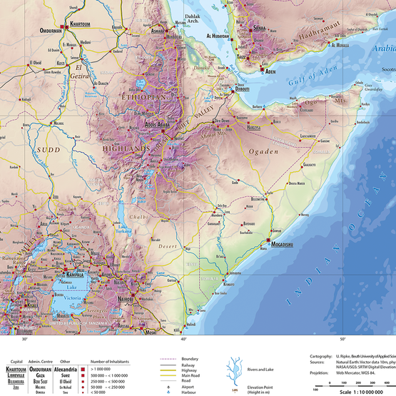 Kartenausschnitt North-Eastern Africa 1 : 10 000 000, physical