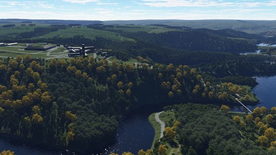 Terragen: Urfttalsperre rechts im Bild, Burg Vogelsang links (2013)